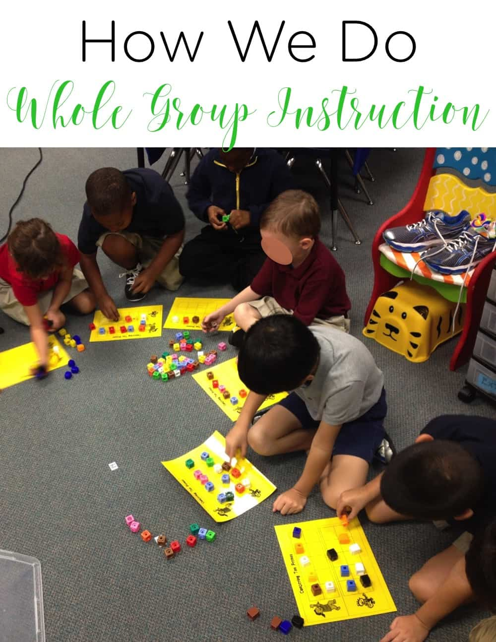 Whole group instruction is a part of every classroom. See how this teacher organizes that time and engages her students. #classroommanagement #firstgrade