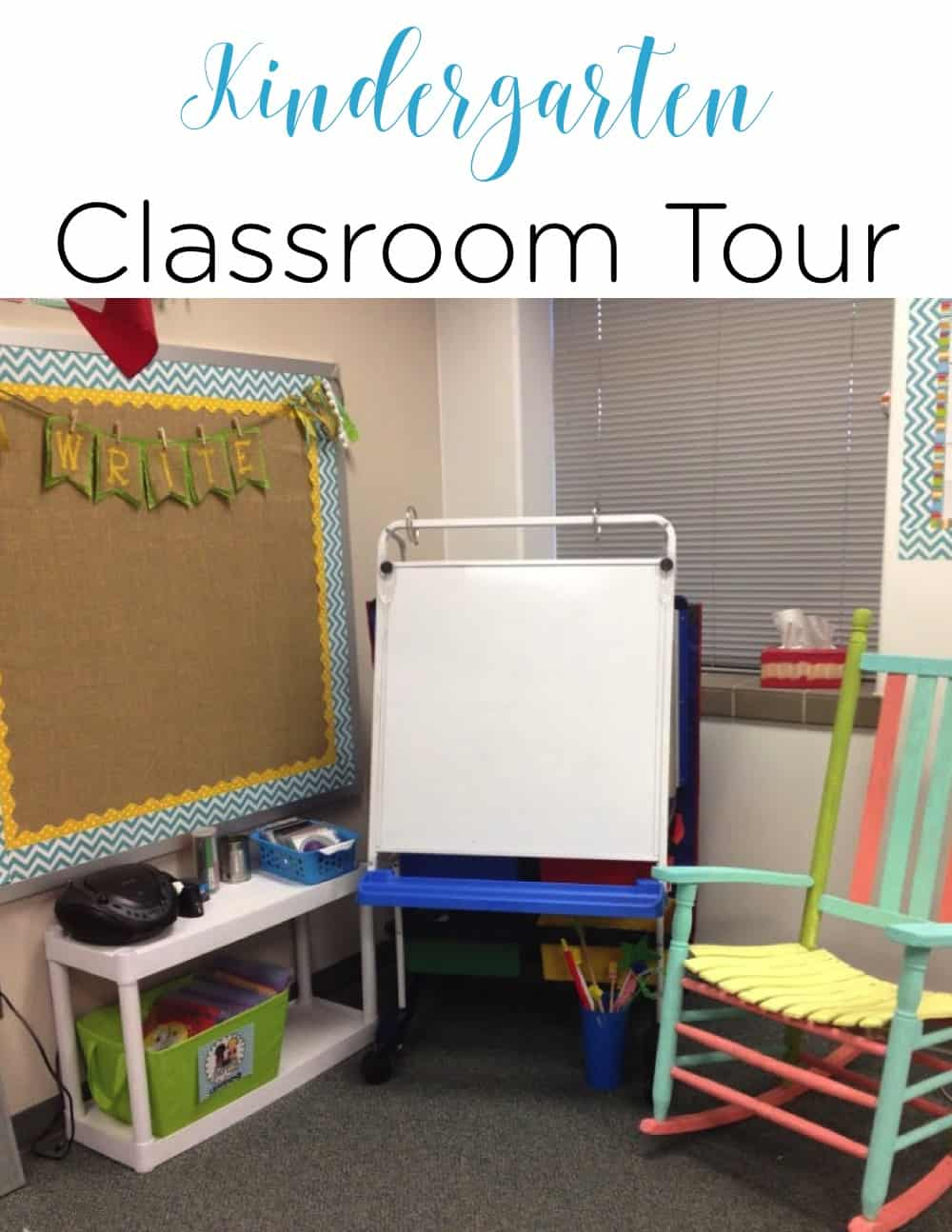 This kindergarten classroom is simple, not over decorated, and a crisp, clean space for students to enjoy learning!