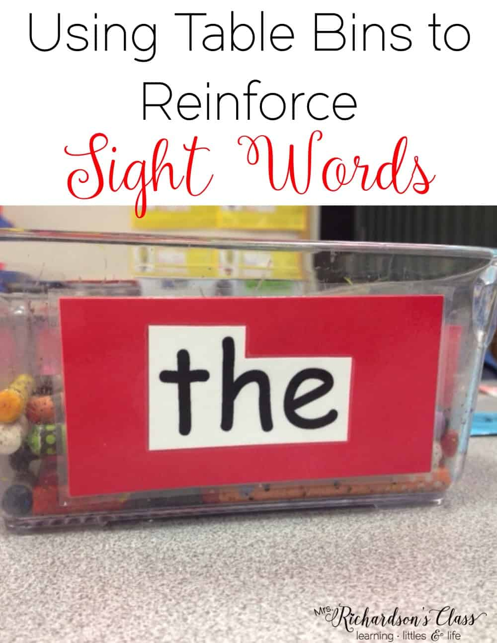 Get some extra sight word practice in with this simple activity! It's basically free and will work for preschool, kindergarten, and first grade students. I love how she used the table bins! #sightwords #sightwordactivities #preschool #kindergarten #firstgrade #homeschool #mrsrichardsonsclass