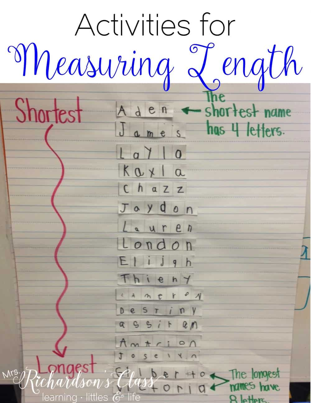Measuring Length activities that are PERFECT for kindergarten learners! Grab some FREE fun ideas to use, including nonstandard measuring. My students loved this name activity, too! #MathLessons #kindergartenmath