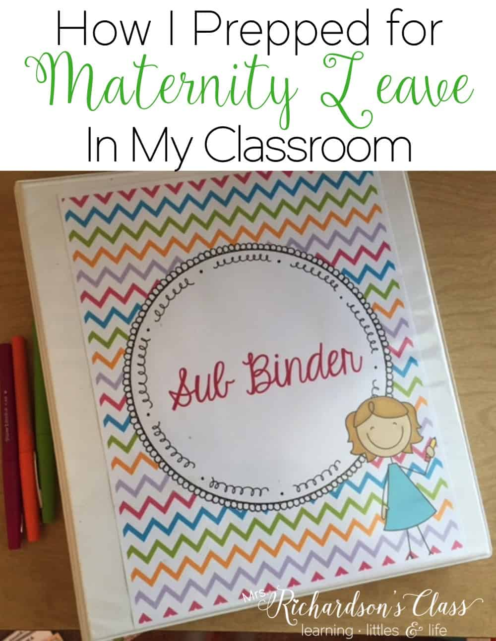 Get everything planned and organized for your substitute as you take maternity leave! See how this teacher prepared for her long term sub, and what was in the binder! #maternityleave #substituteteacher