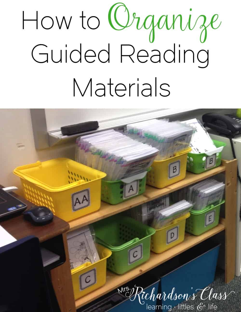 Organizing your guided reading materials can be overwhelming. Come see how this teacher keeps it all together and organized in her classroom! Don't forget to grab the FREEBIES! #GuidedReading #ClassroomOrganization