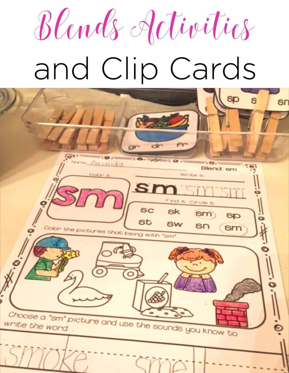 These blend activities are the perfect way to practice blends phonics skills. The clip cards are great for fine motor practice, too. You can use them in work stations, small groups, and guided reading! #phonics #phonicsactivities #consonantblends #literacystations #guidedreading