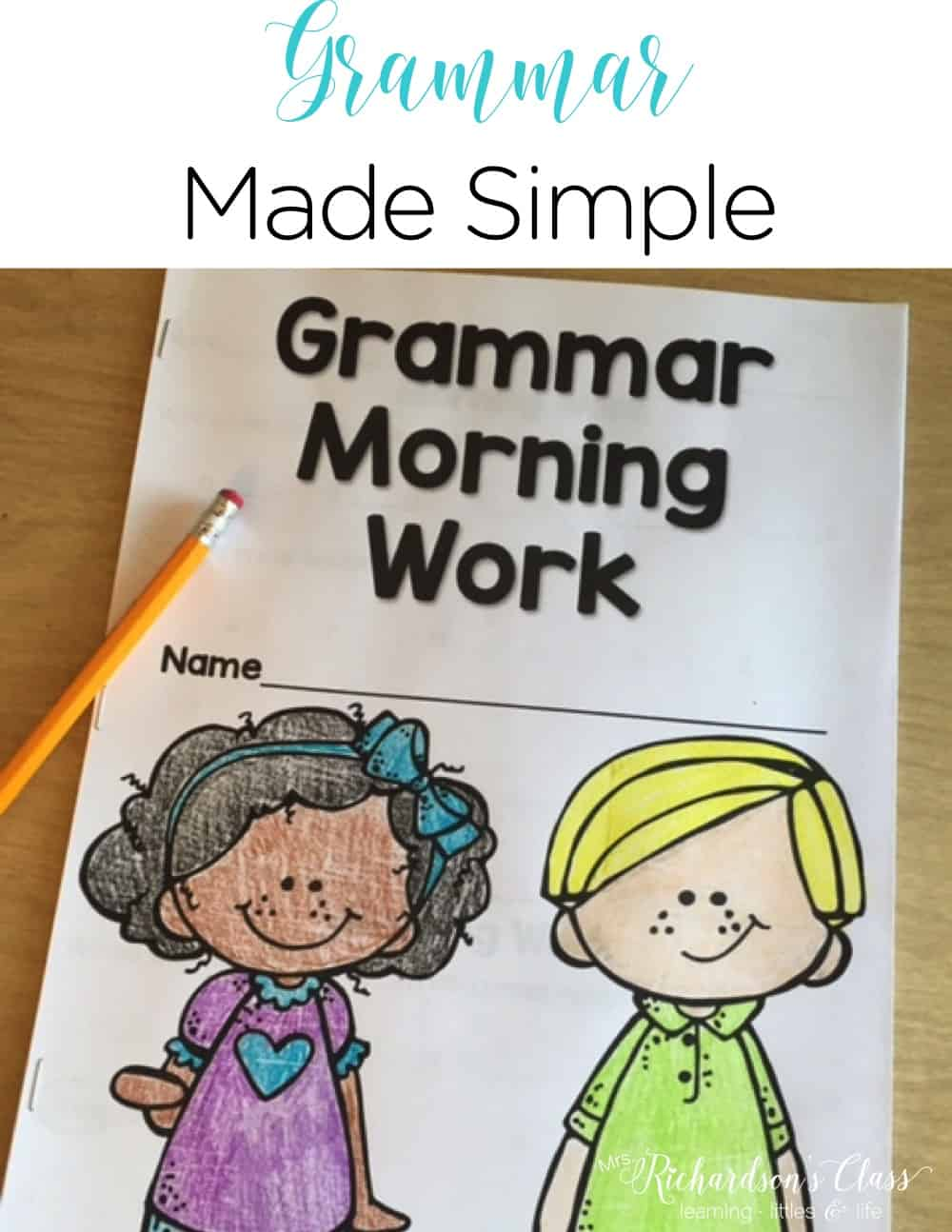 Finding time for grammar lessons for little learners is tough! See how this teacher squeezes in grammar during morning work with her students! #kindergarten #firstgrade #secondgrade #morningwork