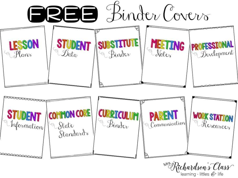 free binder covers mrs richardson s class
