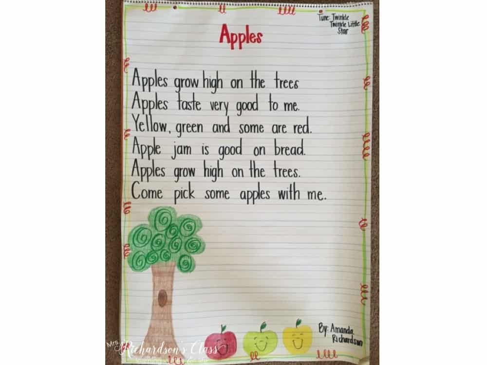 Apple Poem that is perfect for Shared Reading! See how this teacher integrates apples into her content easily!