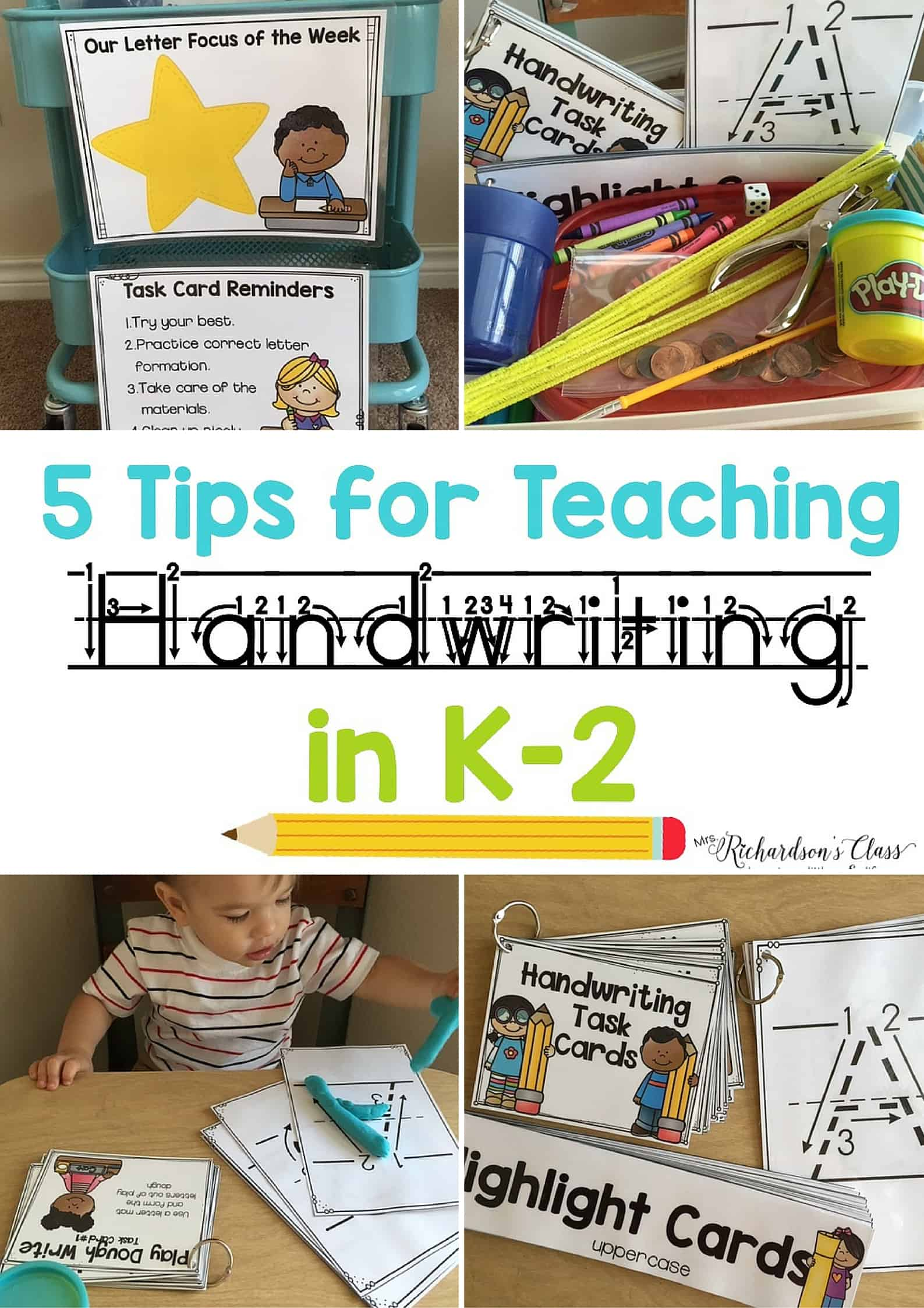 5 Tips for Teaching Handwriting to little learners. These tips and activities are engaging, hands-on, and practical! #handwriting #penmanship #kindergarten #firstgrade #secondgrade #handwritingideas