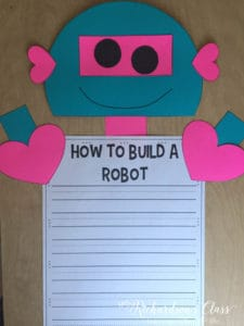 Valentine's Writing activity that is SURE to hook your students! It doubles as a writing assessment as students earn each piece of their robot!