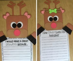 Reindeer craft that is perfect for writing assessing! I love how this teacher uses purposeful crafts in her classroom!