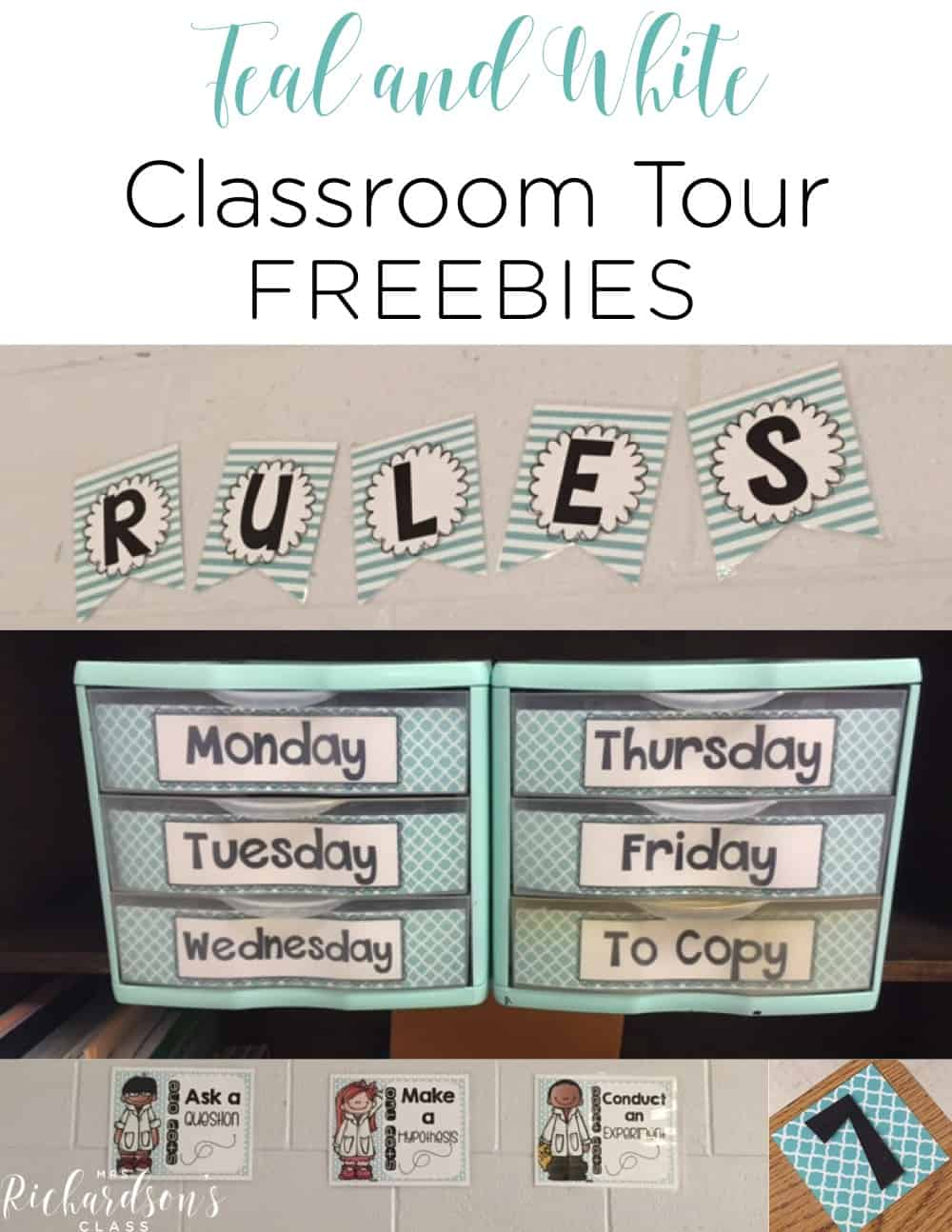 Teal and white classroom ideas and FREEBIES that will help you get organized and be set for the year! #classroomorganization #middle #elementary #middleschool #free #printables