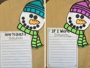 Snowman craft that is perfect for snowman writing! It also doubles as a writing assessment! Check out how this teacher has purposeful crafts!