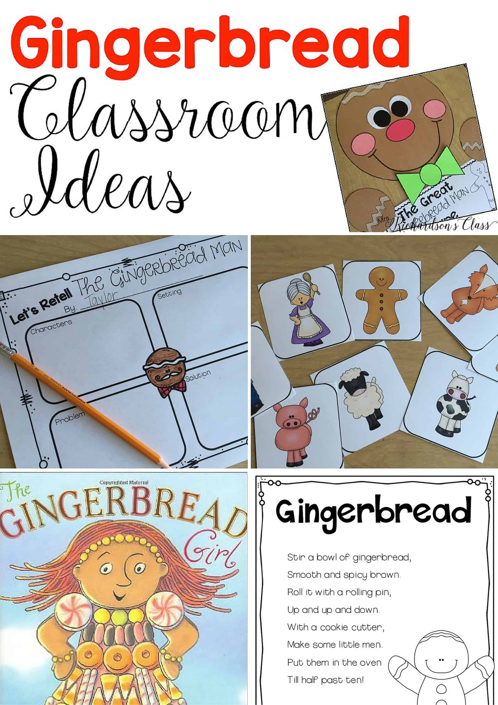 Gingerbread Classroom Ideas that are perfect for the kindergarten and first grade classrooms. Many engaging activities for any gingerbread book that can be integrated into reading and reading! Plus a FREEBIE! #gingerbreadactivities #kindergarten #firstgrade #gingerbreadman #book #FREE