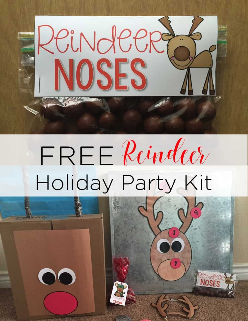Be set for your classroom holiday party with this FREE reindeer party kit! Games, snack ideas, and more! It's sure to be a blast! #classroomparties #holidayparty #reindeer #christmasparty #schoolparty