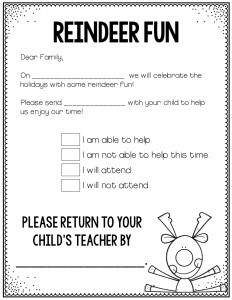 Holiday Party Parent Letter FREEBIE