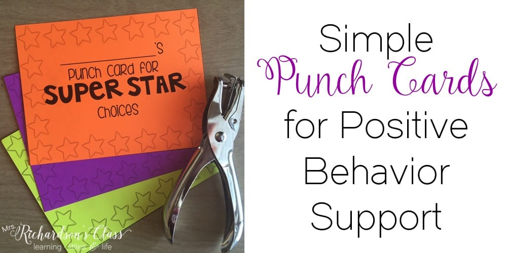 Simple Punch Cards For Positive Behavior Support Mrs Richardson S
