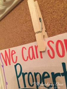 Attach clothespins to thumbtacks and stick them on bulletin boards to easily change out mini-anchor charts