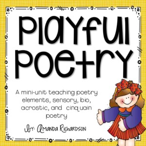Poetry unit for kindergarten, first grade, and second grade--simple to use and I love how it walks students through each of the elements of poetry, too!