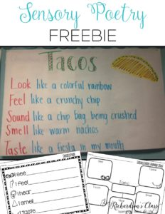 Here's a great place to begin teaching poetry in kindergarten and first grade. Plus snag the great FREEBIE that will help you get started with writing your own sensory poem! What a great idea for a lesson! #kindergarten #Freebie