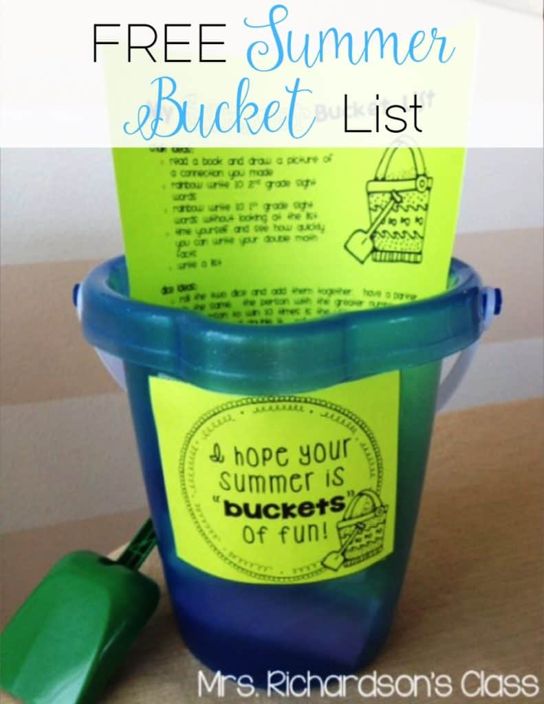 Summer bucket list for students are a fantastic end of the year gift! Just add chalk, dice, bubbles, and a notepad! It will keep them busy all summer!