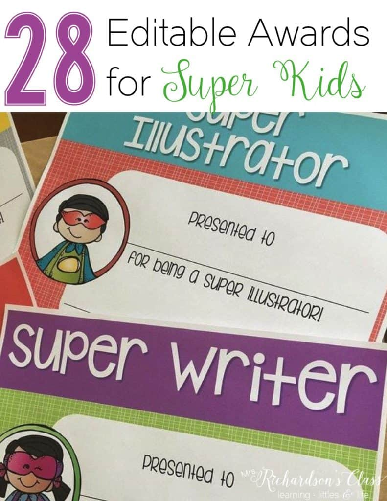 "End of the year awards don't have to be fancy! Keep them simple with these ""super kids"" awards to celebrate each students' growth!"