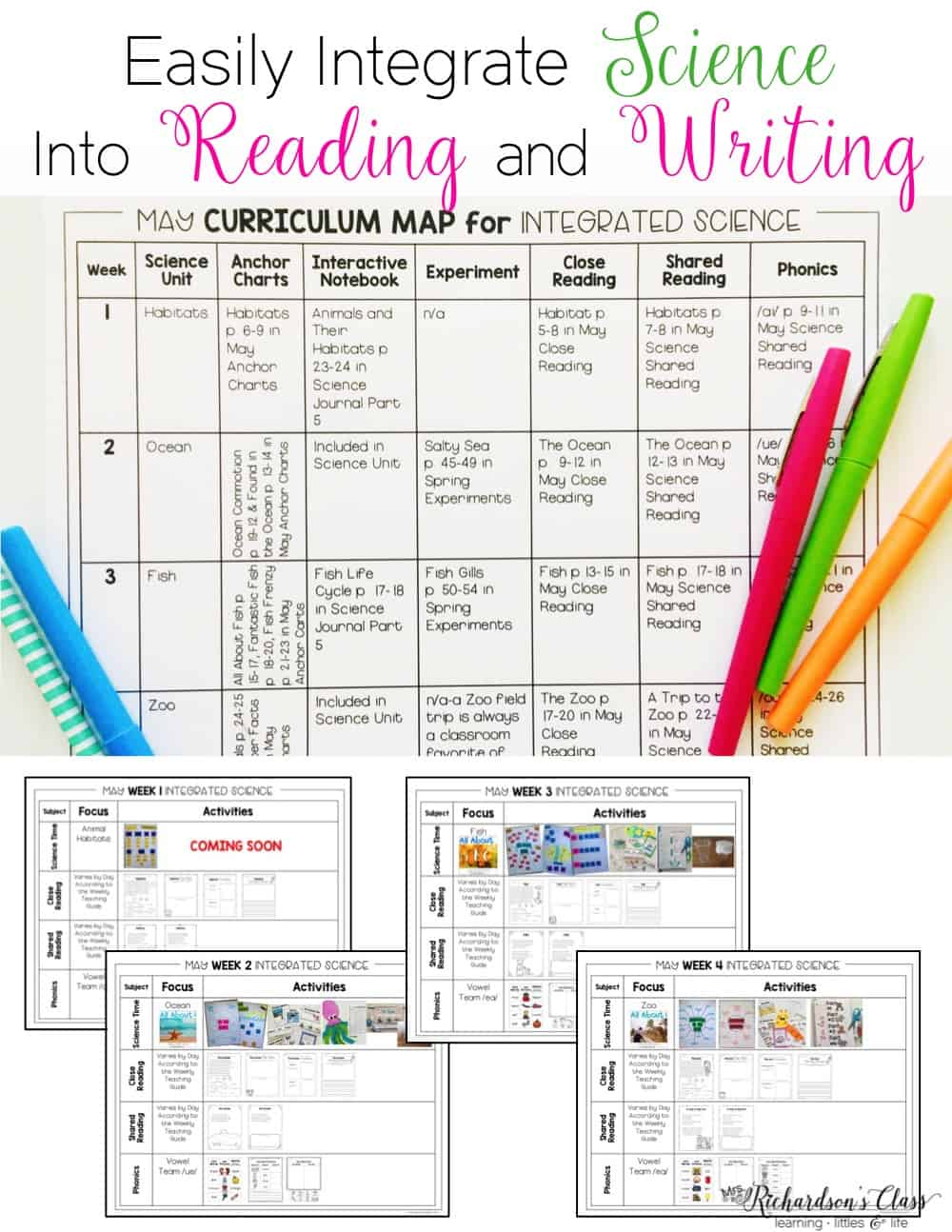 Integrating science into reading and writing is a breeze once you see how this teacher does it! She provides a detailed look into how she squeezes it all in and includes activity ideas!  #firstgrade #lessonplans