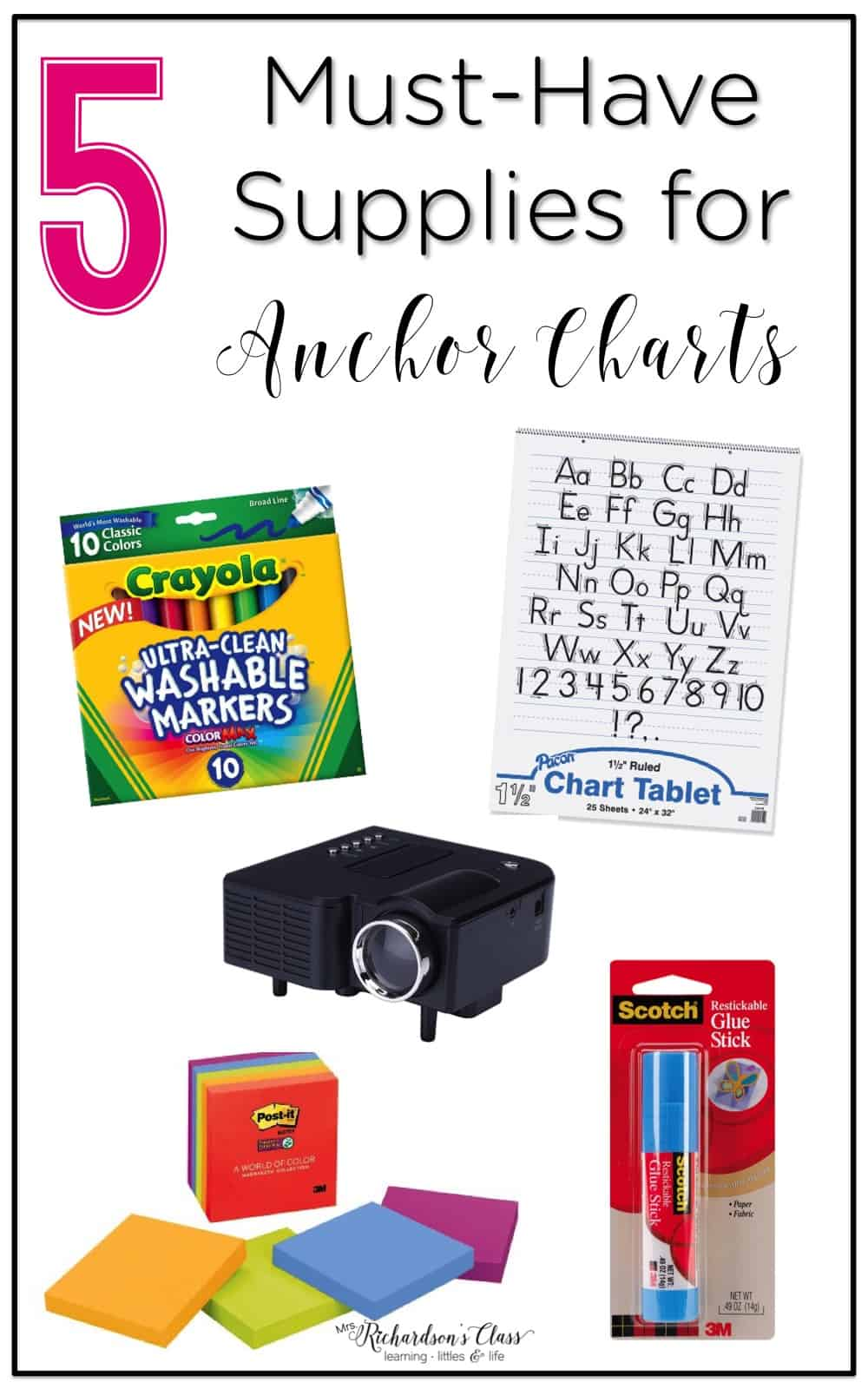 These supplies will make anchor chart creating a breeze! The reusable restickable glue stick is a MUST!