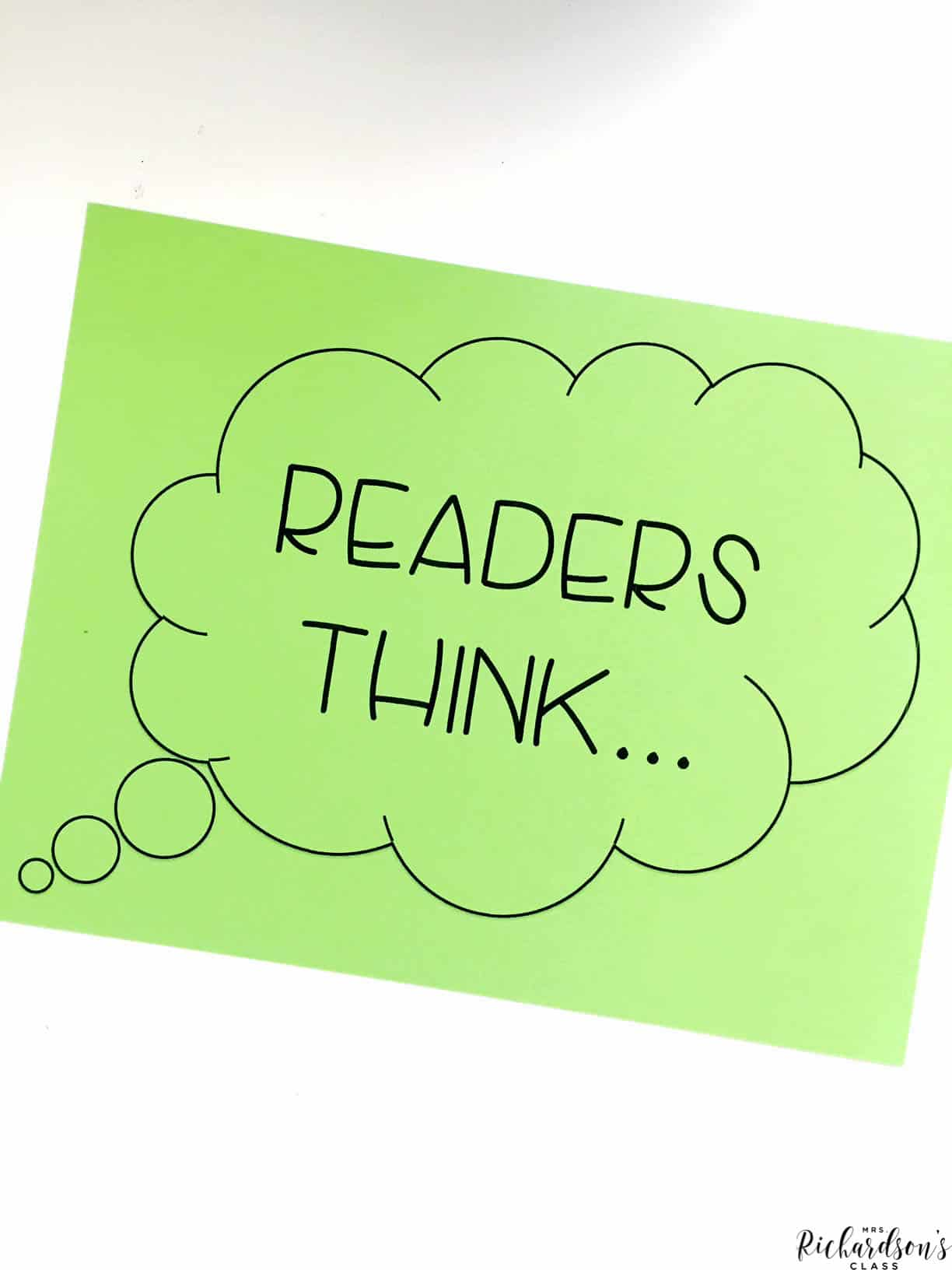 I love how this teacher uses this poster to hold up when she is doing an interactive read aloud to show her students that she os talking about her thinking, instead of read words that are on the pages of the book!