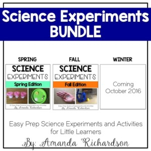 Science Experiments made easy for the ENTIRE year with this bundle! They can easily be set up as work stations or can be done whole group!