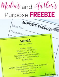 Teaching media's purpose and author's purpose to our little learners is a breeze with this fun poem and recording sheet! See how this teacher integrated fiction and non-fiction texts while teaching author's purpose in 1st grade.