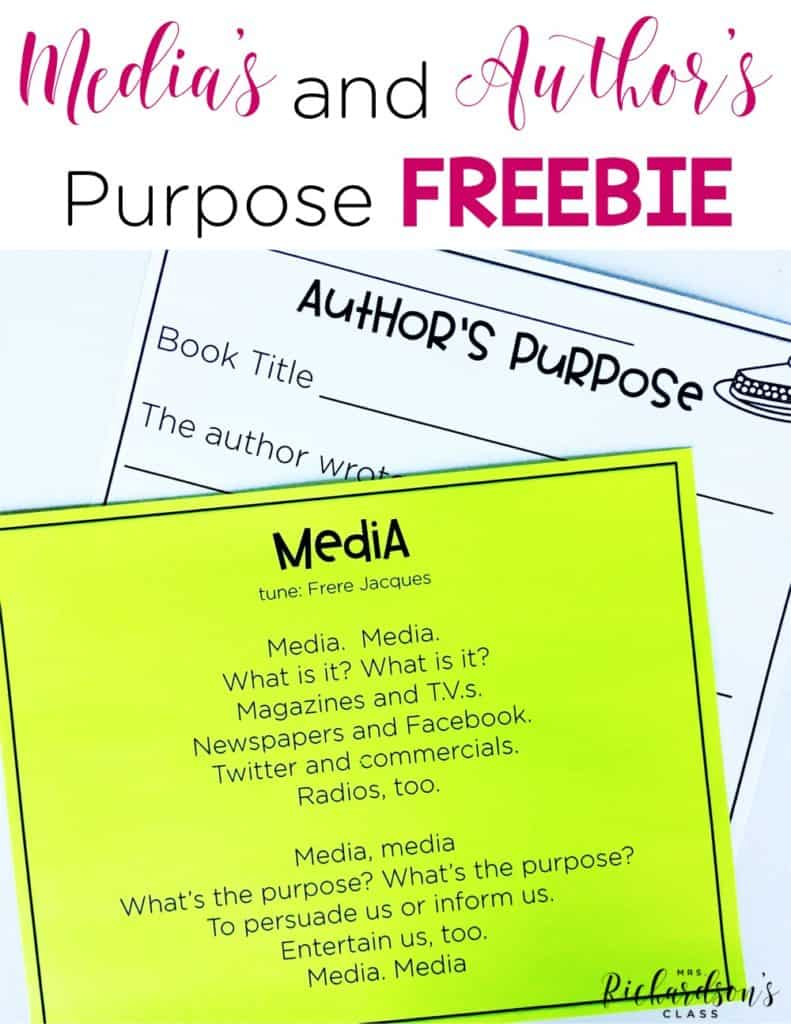 Media's and Author's Purpose FREEBIE