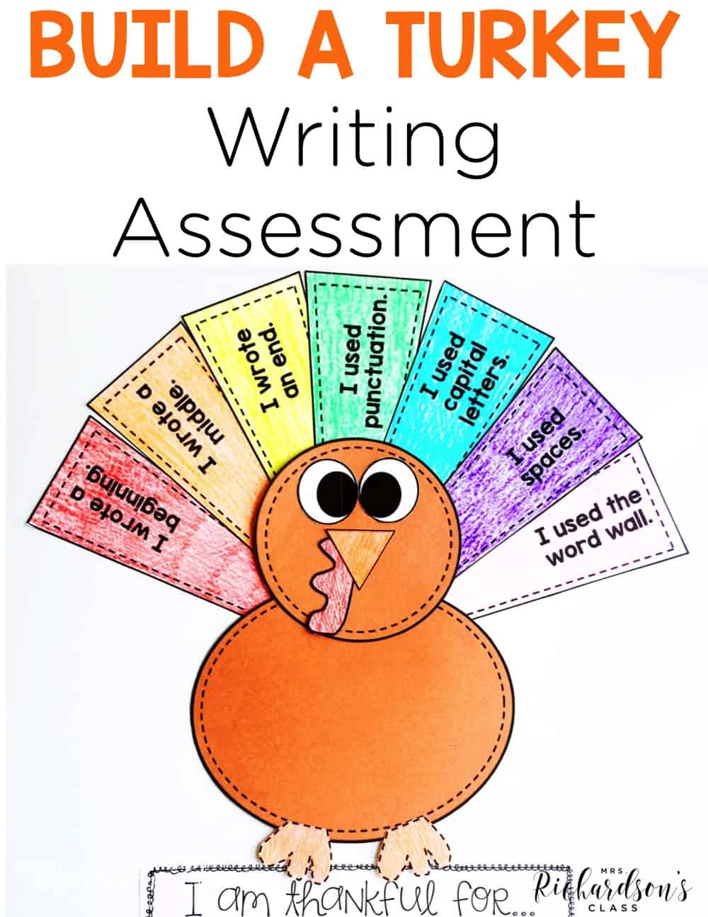 Use this engaging turkey writing prompt and as an assessment, too! Your first grade and kindergarten writers will be thrilled with this fall writing activity.  As a teacher, you are able to both assess writing and reteach where needed! Check out the blog post for more details!