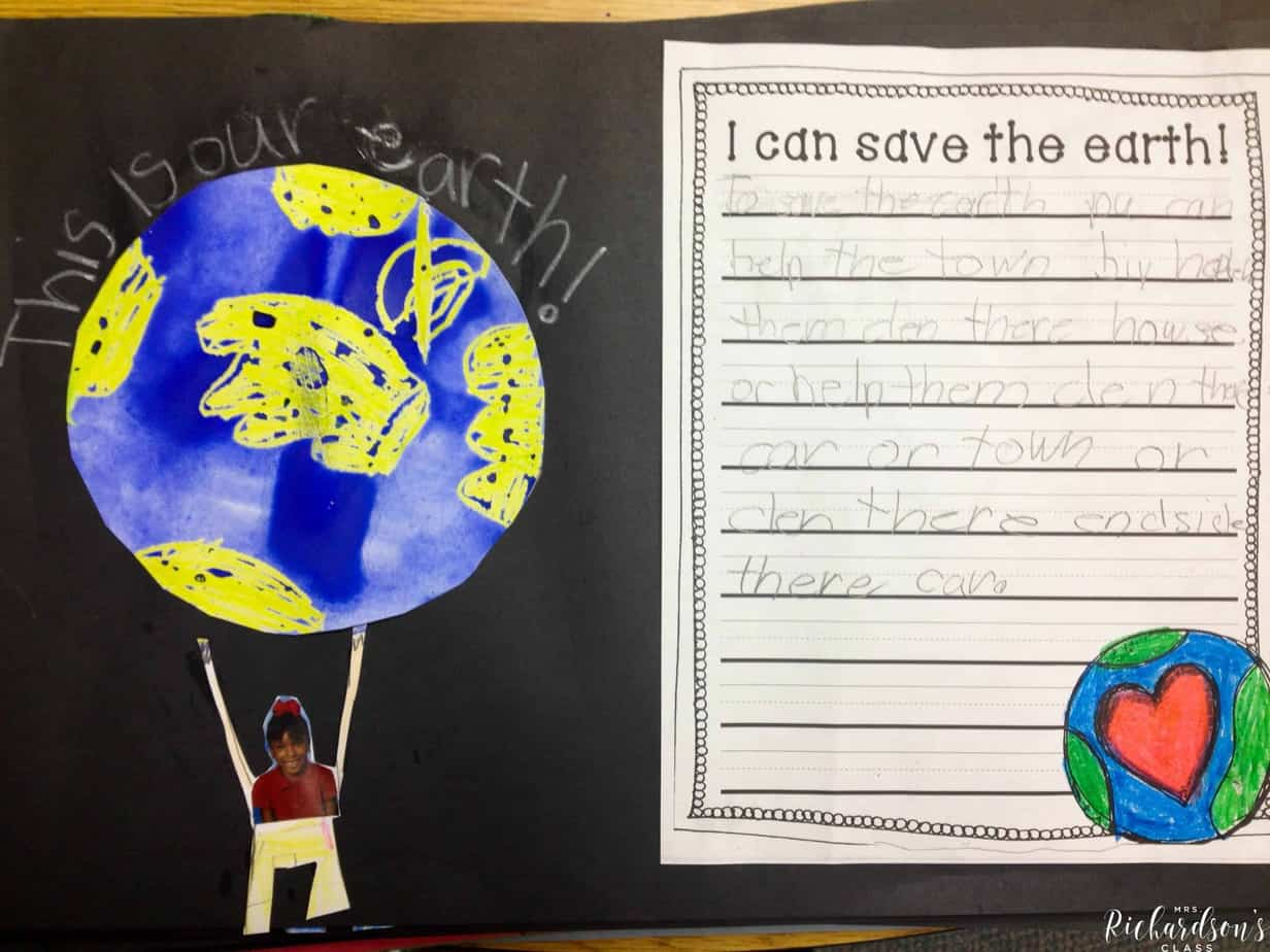 Get your students writing about how they will save the earth with this free writing template! Follow the directions provided to complete a crayon resist, too!