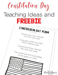 Constitution Day is September 17th every year. What an important day! Grab these teaching ideas, the FREEBIE, and you will be set for Constitution Day! Students in kindergarten, first grade, and second grade will be engaged in learning social studies and integrating writing activities! #historyactivities #firstgrade