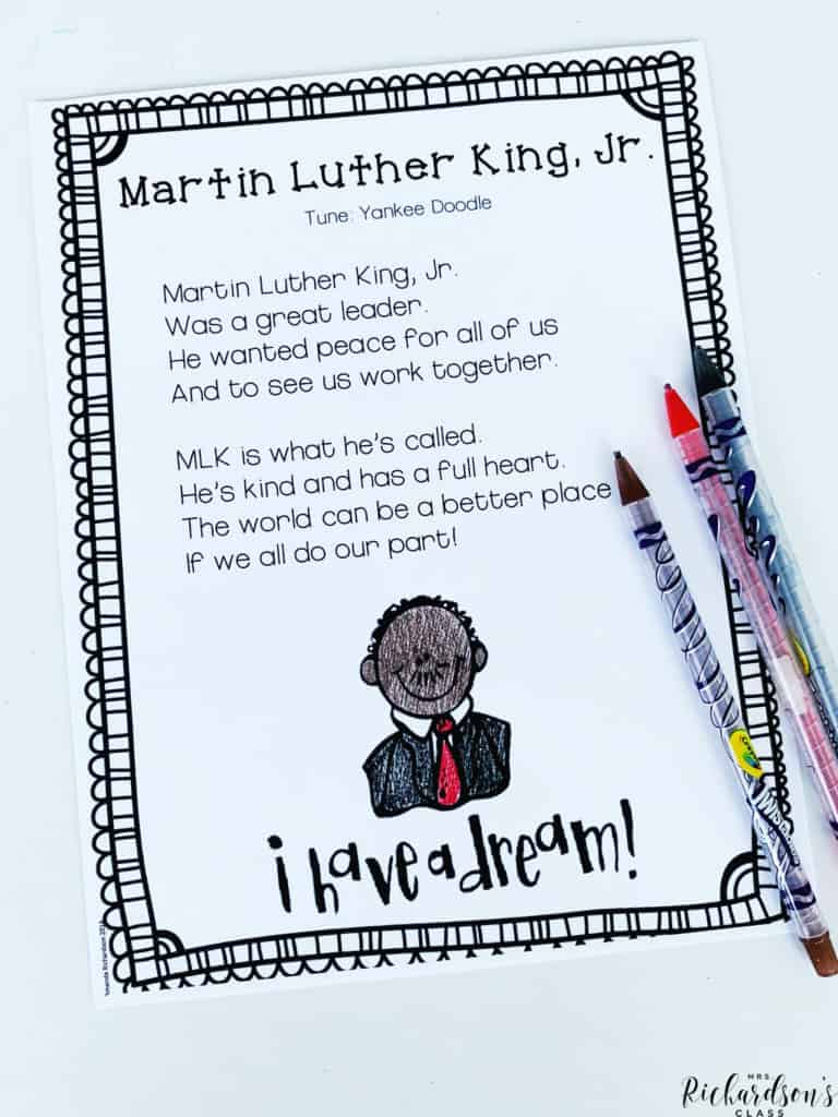 This Martin Luther King, Jr. poem is perfect to use as a shared reading activity with your little readers in kindergarten or first grade.  This activity will integrate social studies and help you model and teach important shared reading concepts! Grab it FREE in this post!