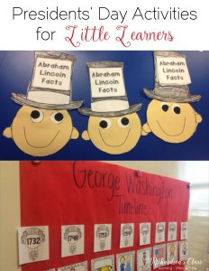 Presidents' Day Activities for Kindergarten and First Grade social studies--LOVE the timeline activity! Students will love learning all about George Washington and Abraham Lincoln while integrating reading, writing, and social studies activities! #kindergarten #firstgrade