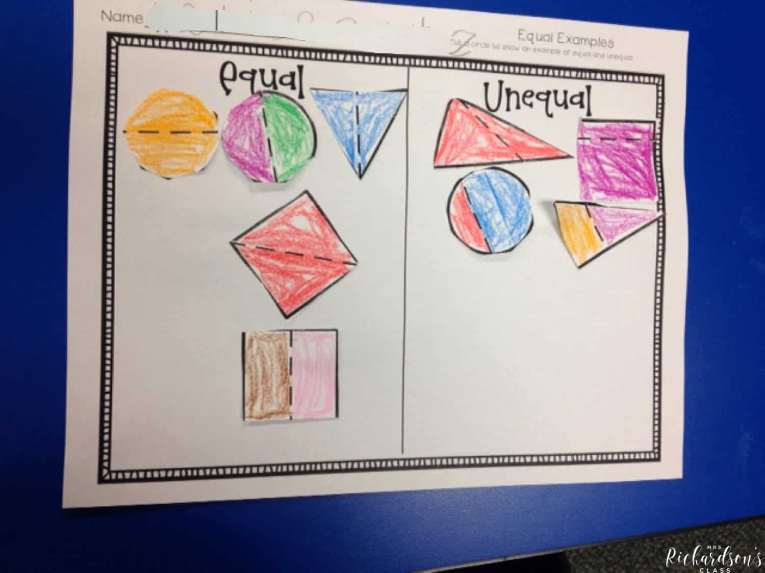 Fraction sort that shows students what is equal and what is not equal using all shapes!
