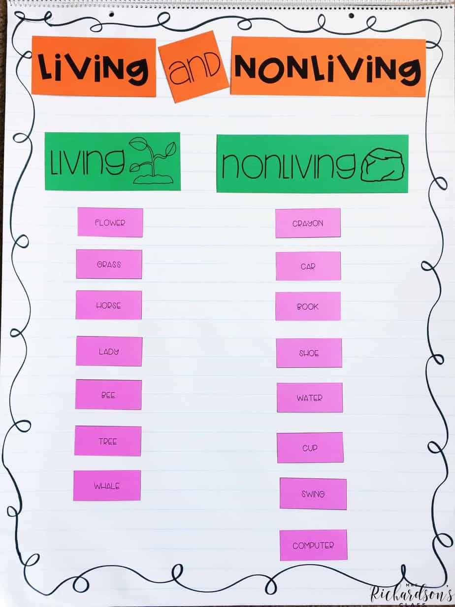 Living and nonliving things anchor chart that is simple, but hands-on and effective for teaching this concept!