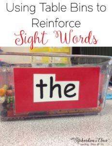 Sight word practice can be easily done with this trick! I love how she shared how she uses the table bins in her classroom!