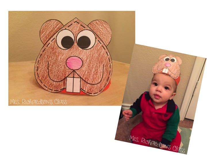 Adorable Groundhog Day hat for lkindergarten and first grade students as they learn about Groundhog Day!