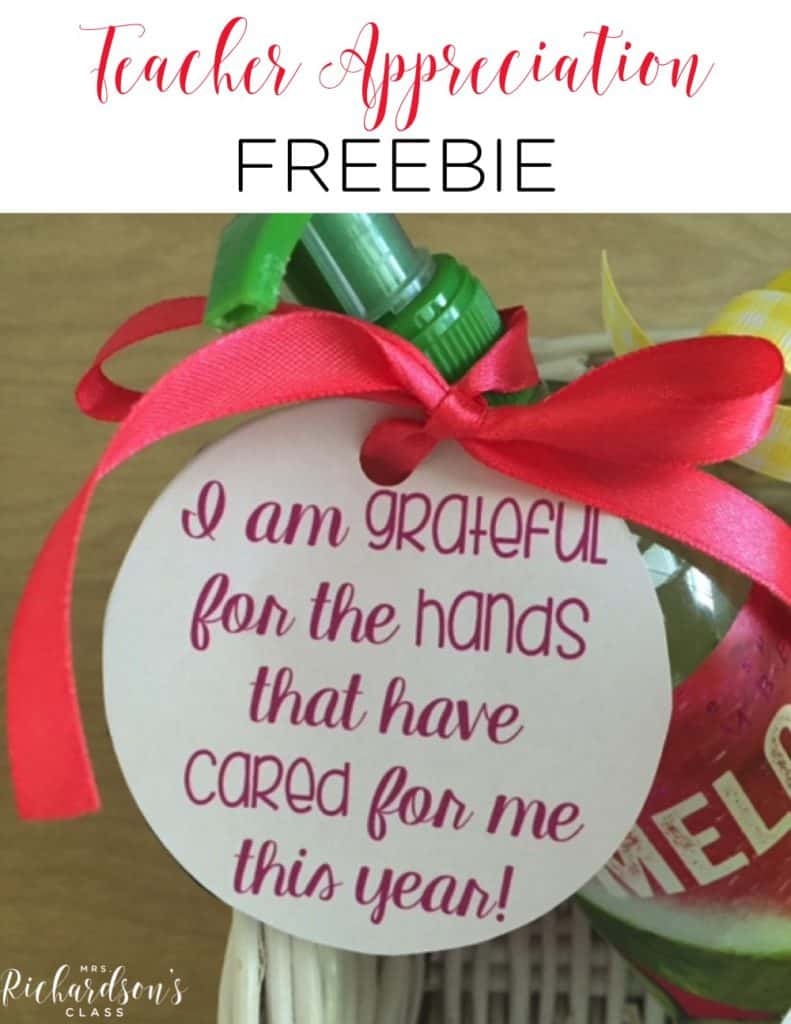 Teacher Appreciation Gift FREEBIE