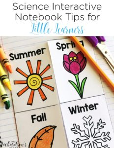 Interactive science notebook tips for kindergarten and first grade that are genius! I love the elastic idea she shared! There's also a free journal cover to grab! #interactivenotebooks #scienceideas
