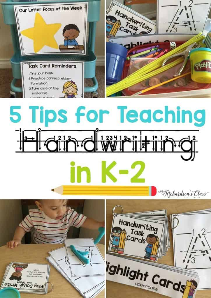 5 Tips for Teaching Handwriting to little learners. These tips and activities are engaging, hands-on, and practical! #handwriting #handwritingideas