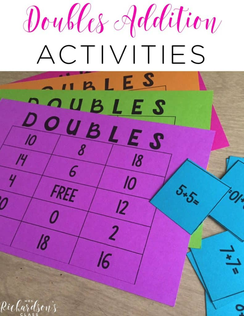 Doubles Addition Teaching Ideas that are great for first graders! I love the song that this teacher shared, too! Don't forget to grab the FREEBIE in the post! #firstgrade #freebie