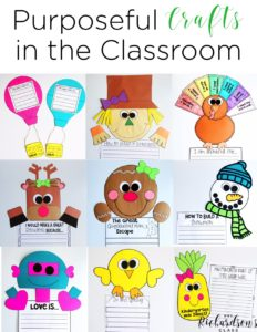 Using Crafts as Purposeful Writing Assessments is a unique spin! I love how this teacher uses writing to integrate these crafts. Can't wait to try out September's craft! #firstgrade #kindergarten