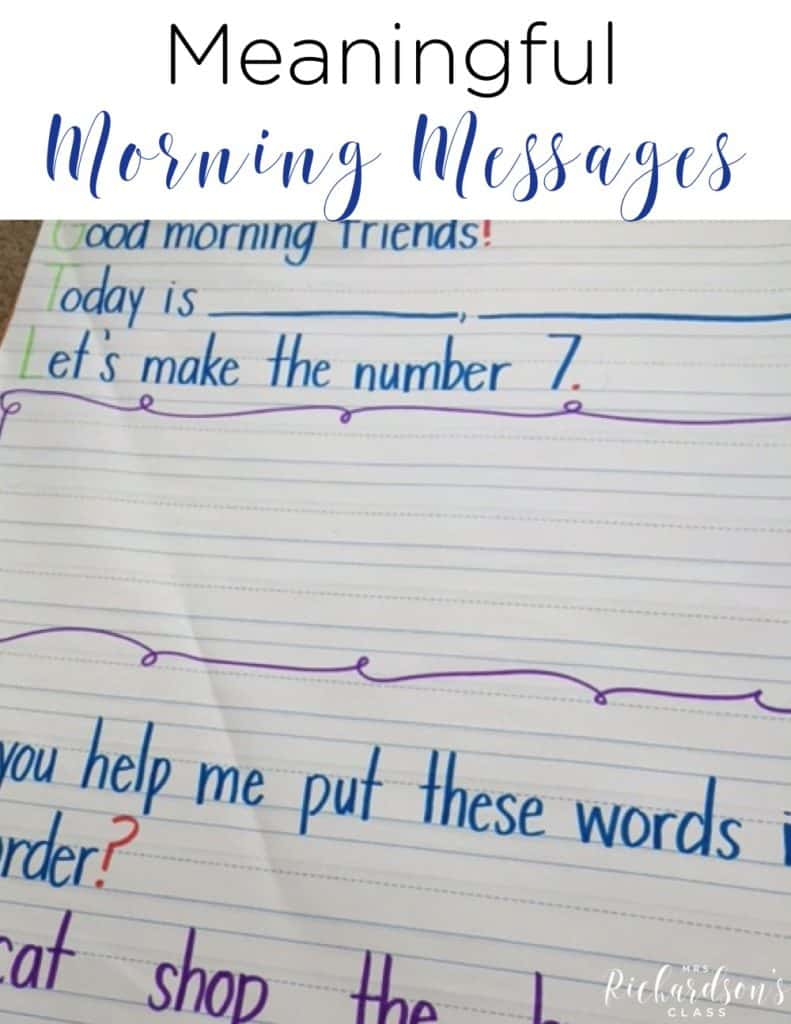 3 tips for meaningful morning messages that are simple to implement! They involve interactive writing, math, sight word practice, and more fun activities! #firstgrade #kindergarten