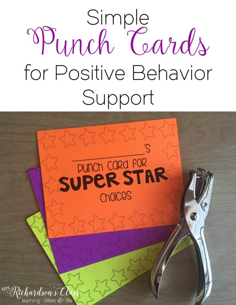 Simple Punch Cards for Positive Behavior Support