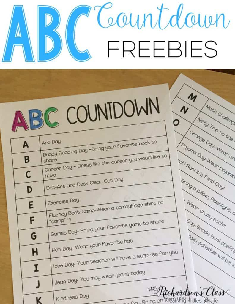 ABC Countdown FREEBIES