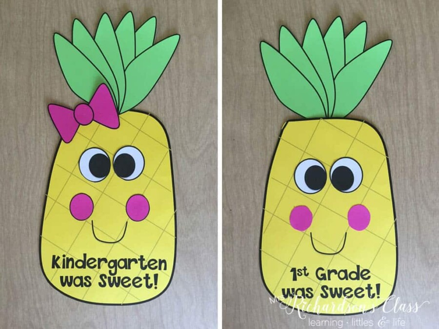 End of year pineapple writing craft that is a unique twist on writing assessments!