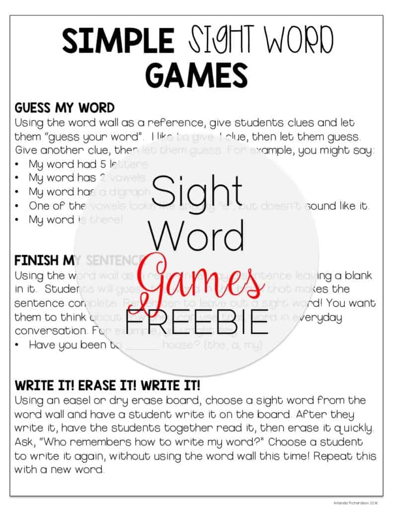 Looking for some sight word games to play using your word wall? These are 3 of our favorite games to play in our classroom! Check them out and grab this freebie so you can play in your room, too!