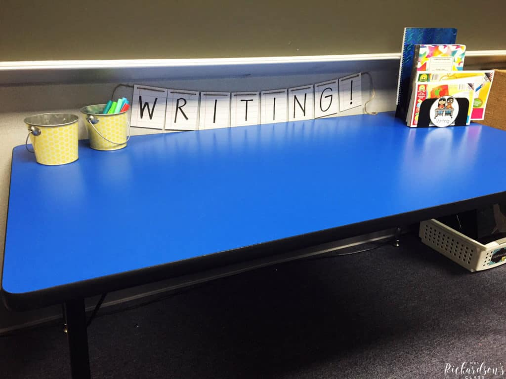 Writing station set up that is simple and easy! I love how this teacher organizes and introduces her literacy stations. No more changing stations out each week!